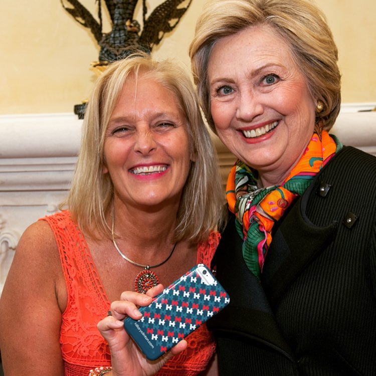 Sue Hrib and Hillary Clinton.